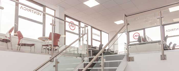 Staircase balustrade in a modern office